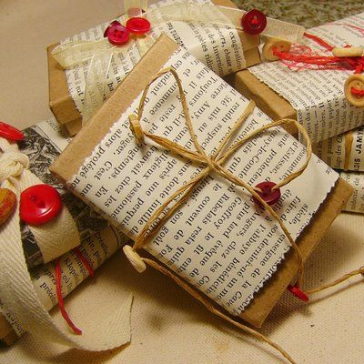 We love how simple this gift wrap is and how you're bound to have most of the elements to hand: brown parcel paper, old pages from a book and string. Done.