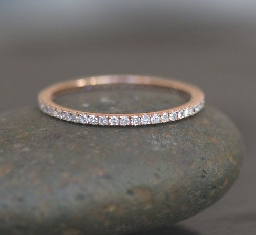 Stackable Simple and Elegant 14k Rose Gold and Diamond Wedding Band Eternity Ring. $589.00, via Etsy.