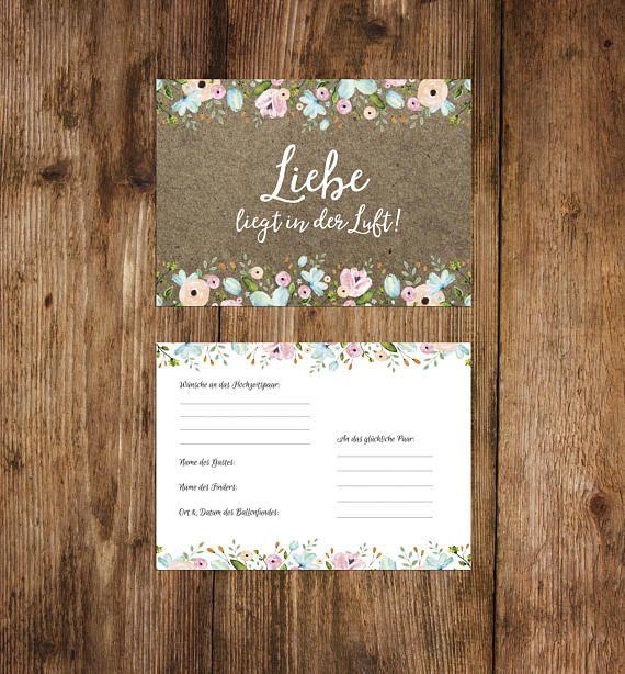 50 Ballonflugkarten Fur Hochzeit Etsy Karte Hochzeit Ballonflugkarten Postkarten Hochzeit