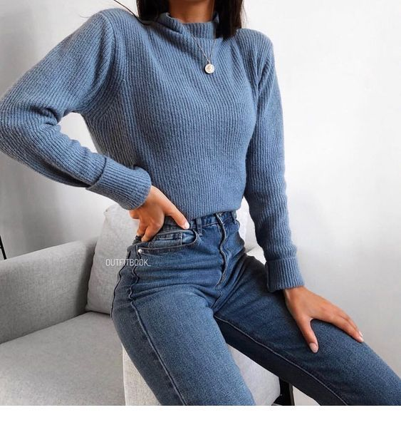 Blue sweater and blue jeans – #Blue #Jeans #Sweater