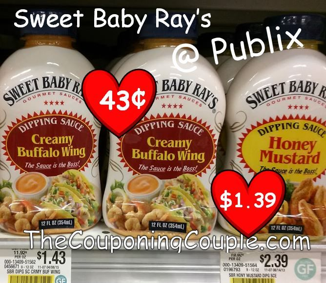 Sweet Baby Ray's Dipping Sauce as low as 43¢ at Publix! Click the link below to get all of the details ► http://www.thecouponingcouple.com/publix-price-on-sweet-baby-rays-ala-0-43-creamy-buffalo-clearance/  #Coupons #Couponing #CouponCommunity