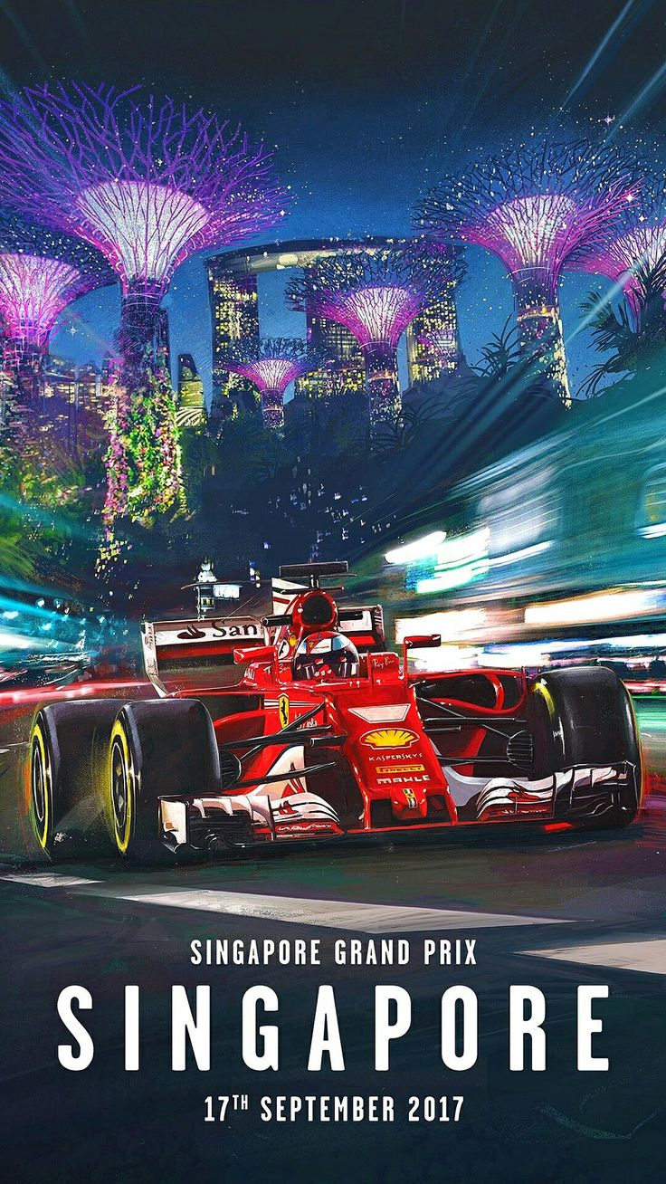 Scuderia Ferrari's stunning poster for the 2017 Singapore Grand Prix, Formula 1's night race on the beautiful Marina Bay street circuit. Artwork by Marco Mastrazzo. #F1 #Formula1 #SingaporeGP #MarinaBay #ScuderiaFerrari #Affiche