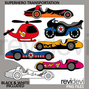 Superherto transportation clip art set featuring race cars, motorcycle and helicopter. Great vehicle theme clipart. Great for pre-K, K, and elementary school projects. This clip art set can be purchased in a BUNDLE at a discounted price. Just click below link! Link-Superhero Clip Art - Spring Club