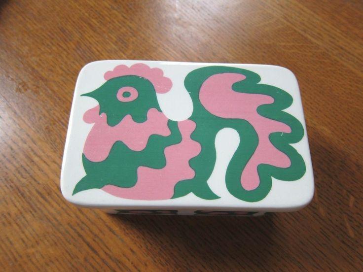 Vtg Arabia Finland Ceramic Box Gunvor Olin-Grönqvist Emma pattern chicken