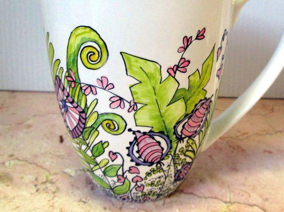 Hand Painted Coffee Mug Pink Purple Jumbo Floral by GetPersonalEtc, $23.00
