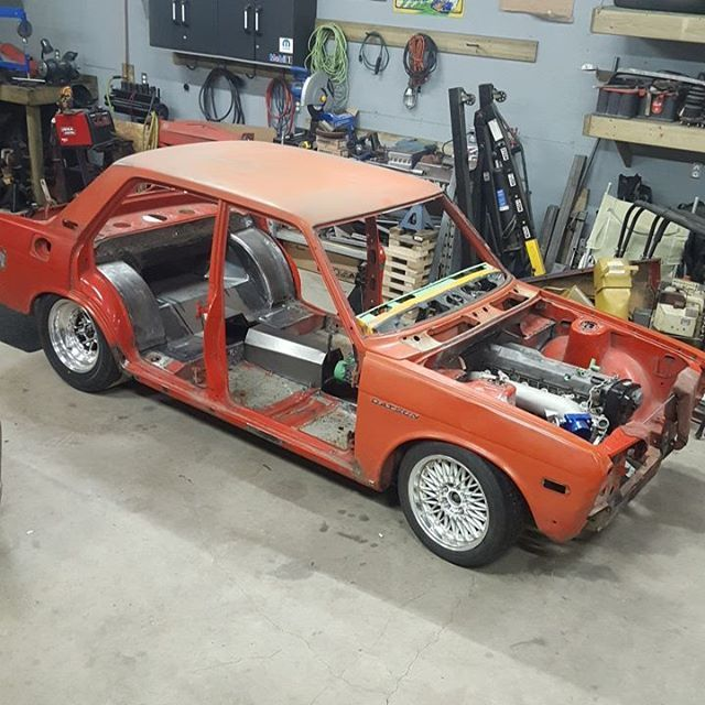 Building a Datsun 510 with a 2.5 L RB25 inline-six and S13 suspension