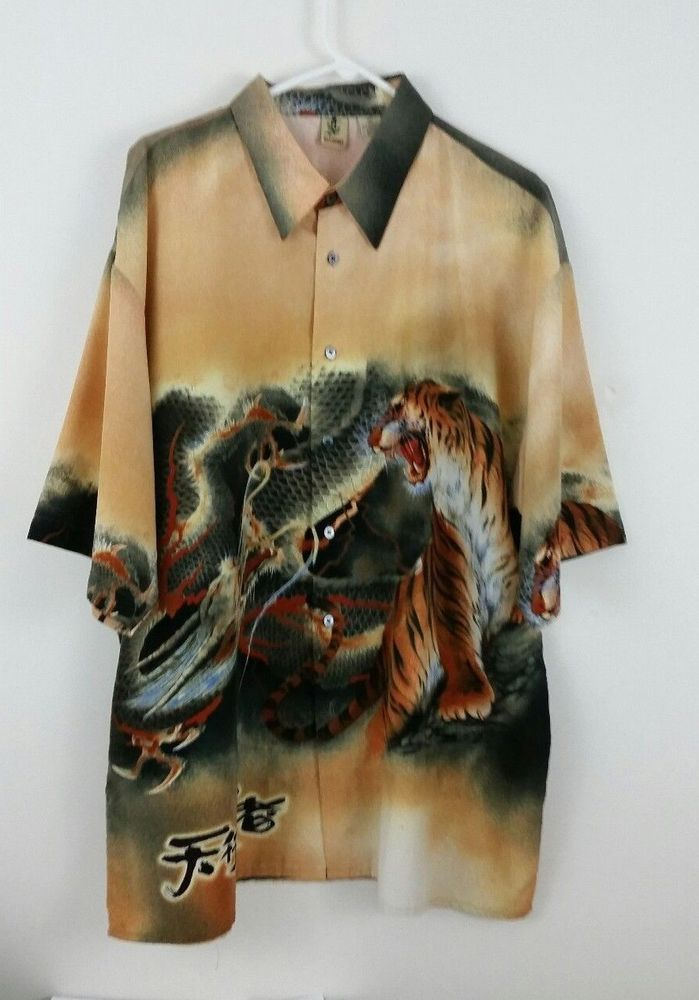 1a301d7a Billion Bay Mens Shirt Dragons Tigers Button Front Size XXL #BillionBay # Hawaiian