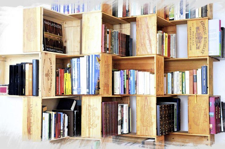DIY – bookshelf made from wine crates