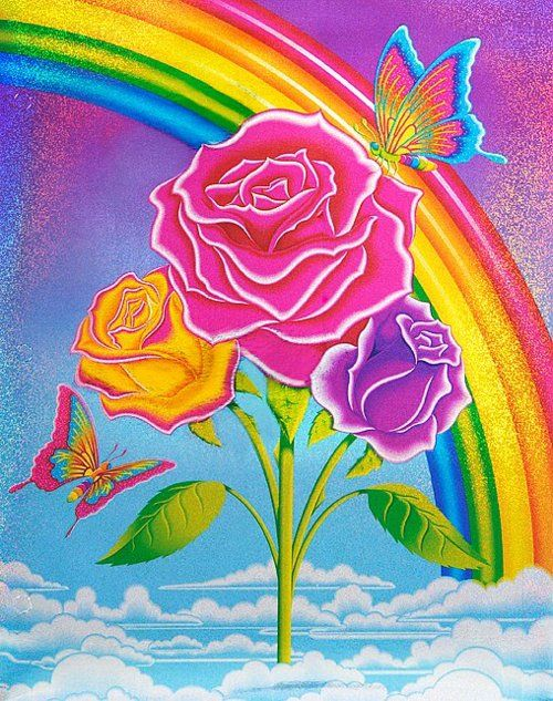Lisa Frank's designs were popular of the 90s, covering everything from pencils to notebooks of young schoolgirls. Her prints stand out with their bright colors in a rainbow of hues. #FlowerShop