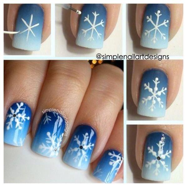 Snowflake Nail Art Design Nails Pinterest Christmas Nail Art