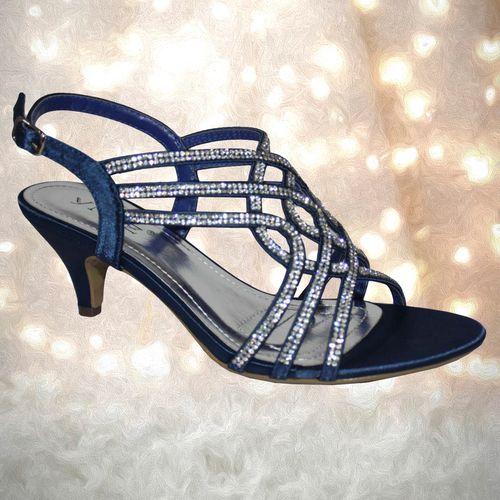 17b565a683a Cadbury navy blue diamante sparkly low heel strappy sandal