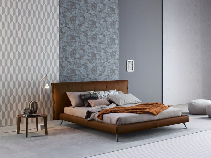 Leather double bed with upholstered headboard CUFF | Leather bed - Bonaldo