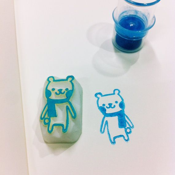 polar bear rubber stamp by DeerdayShop