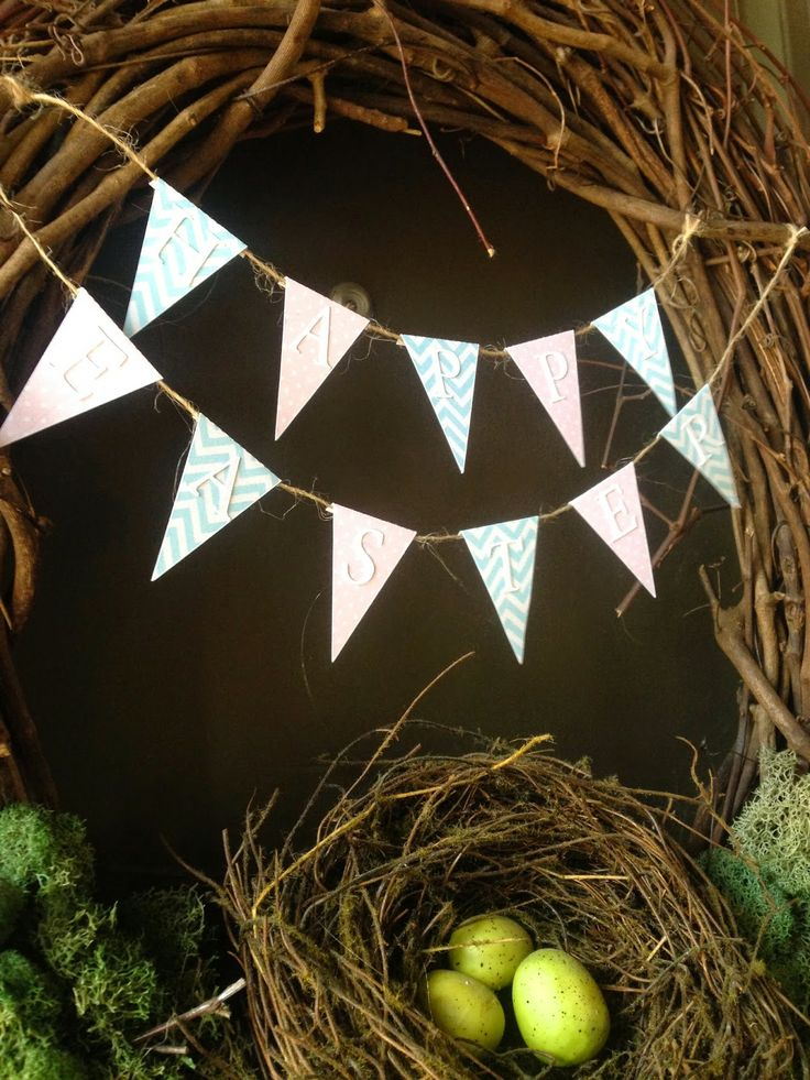 Happy Easter bunting on an Easter wreath!