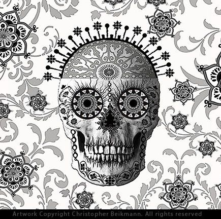 Unusual Victorian sugar skull artwork in black and white.  This highly decorated Day of the Dead art is by skull artist Chris Beikmann.