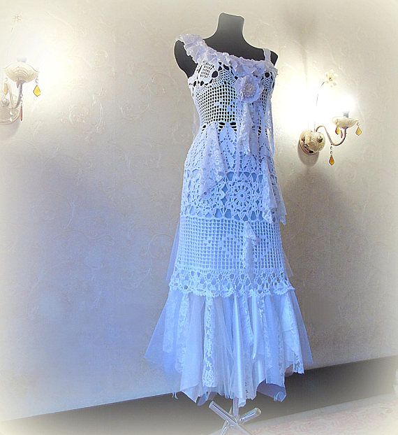 Boho Shabby Tattered Wedding dress Woodland Fairy tale Pixie