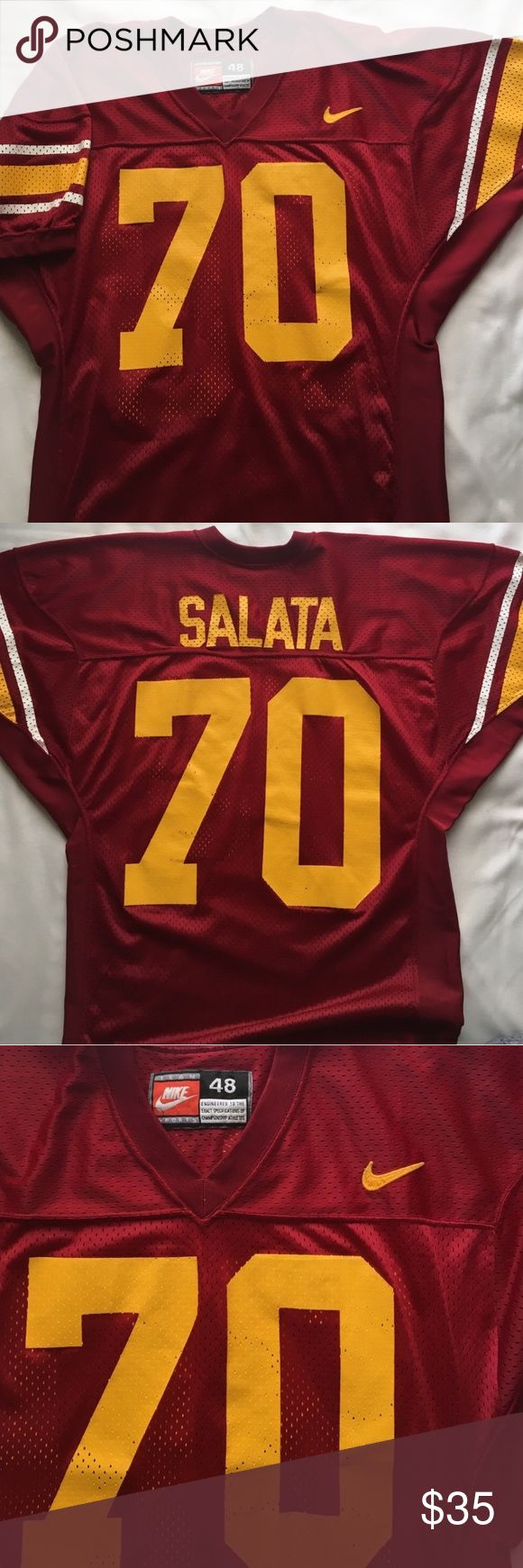 "NIKE USC Football Jersey USC Collegiate Football jersey by NIKE . Extra long ""Engineered to the exact specifications of championship athletes"" . Size 48. #70 Salata. In great condition. Feel free to ask questions or bundle to save Nike Shirts"