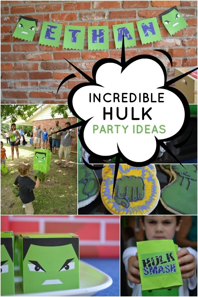 Incredible Hulk Superhero Party Ideas I really like the smash hulk piñata idea!
