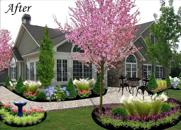 Flower gardens in front of house for Front flower bed landscaping ideas