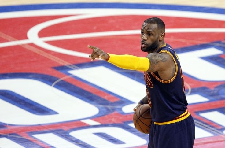 #NBA Apr 24, 2016; Auburn Hills, MI, USA; Cleveland Cavaliers forward LeBron James (23) points down the court during the fourth quarter against the Detroit Pistons in game four of the first round of the NBA Playoffs at The Palace of Auburn Hills. Cavs win 100-98. Mandatory Credit: Raj Mehta-USA TODAY Sports