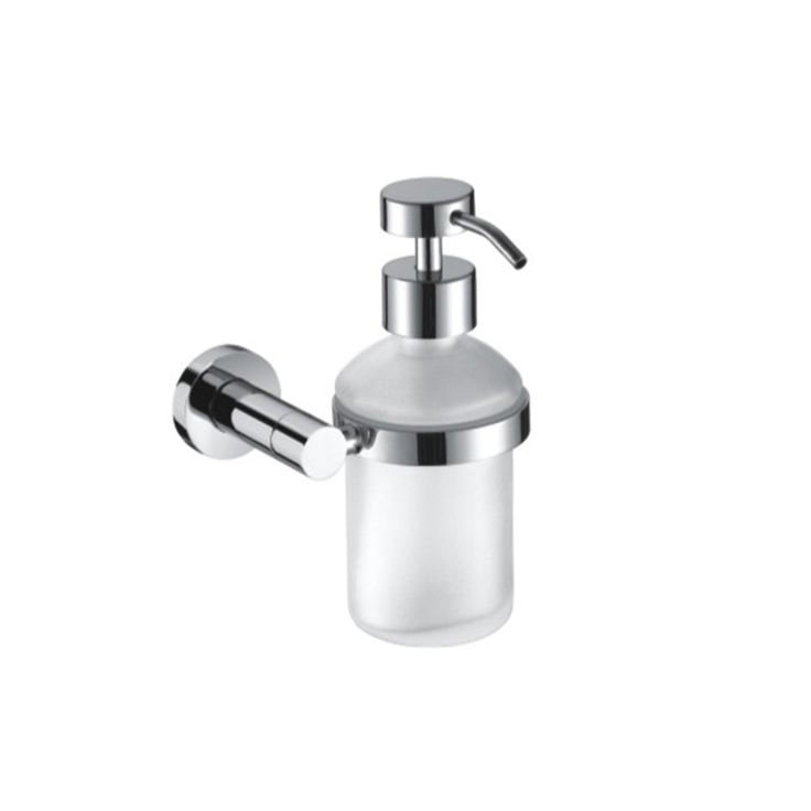 Wall Mount Frosted Glass Chrome Built In Soap Dispenser Press Hotel Style  For Kitchen U0026 Bathroom