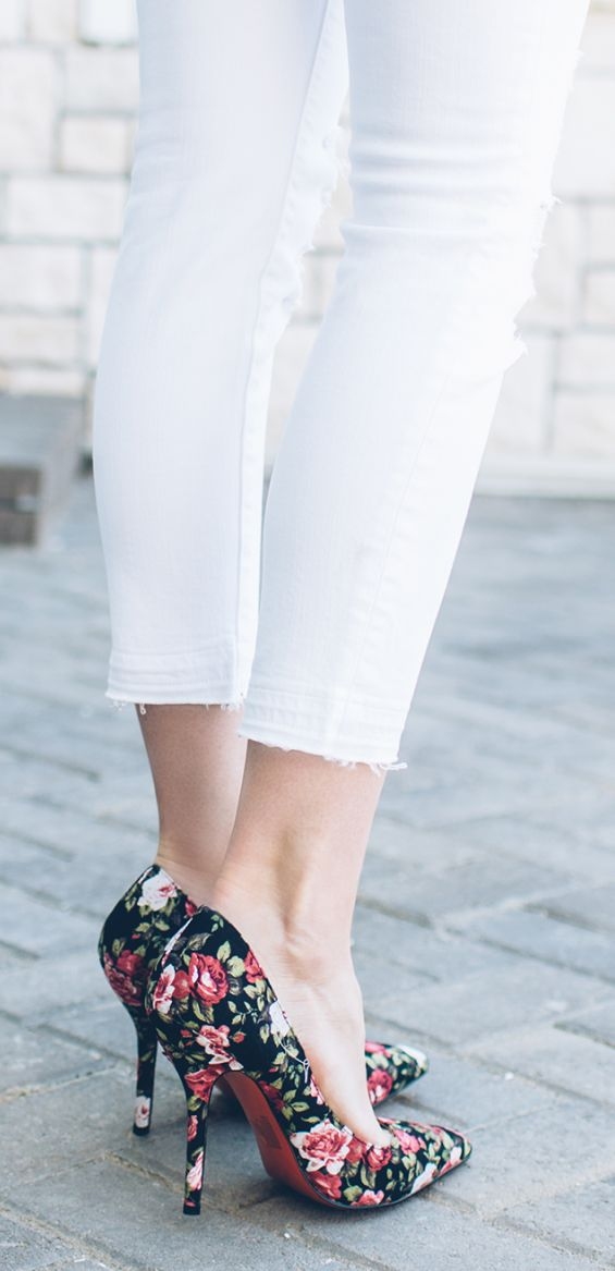 Floral Pumps Outfit Idea by Ivory Lane