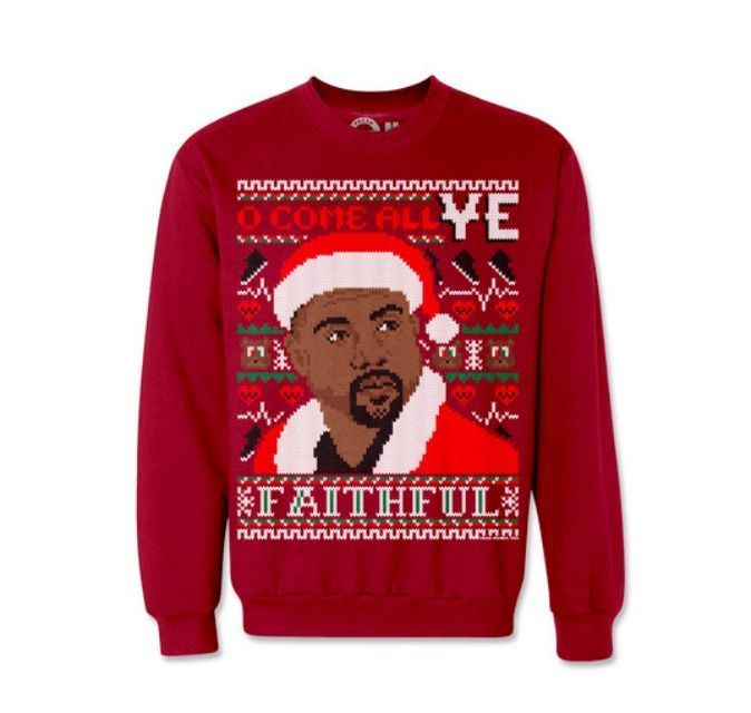 Celebrity Christmas Sweatshirts If you are a pop culture enthusiast in need of an ugly sweater for a holiday party, these Christmas sweatshirts feature the festive faces of Kanye West and Kim Kardashian West
