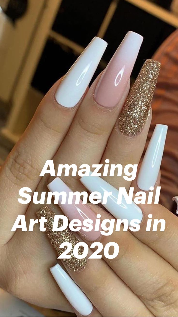 White Acrylic Nails, Best Acrylic Nails, Acrylic Nail Designs, French Nail Designs, Nail Designs With Glitter, Coffin Nail Designs, Best Nails, Classy Acrylic Nails, White Coffin Nails