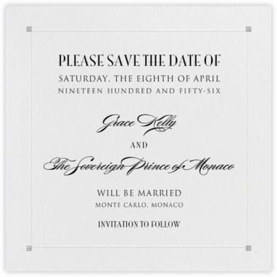 Square Embossed Corners - Silver (Small Square) - Paperless Post- Too plain for a Save the Date??? I kinda like it!