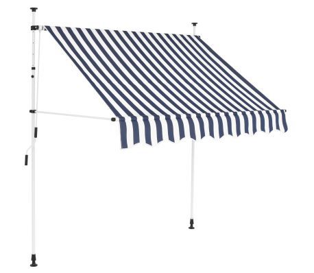 Vidaxl Manual Retractable Awning 78 7 Blue And White Stripes Vidaxl Com In 2020 Retractable Awning Awning Diy Awning