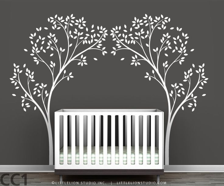 Decoration, Interesting Black Themed For Baby Nursery Room Decoration With Attractive Twin White Tree Decal Also Delectable White Baby Cribs In Hardwood Flooring ~ Stunning White Tree Decal for Showing Great Wall Mural
