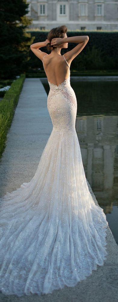 Satin flare wedding dress, sexy deep v neck and flirty peek-a-boo back bridal gown