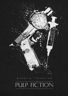 pulp fiction quentin tarantino john travolta samuel jackson vincent vega jules classic movies posters black