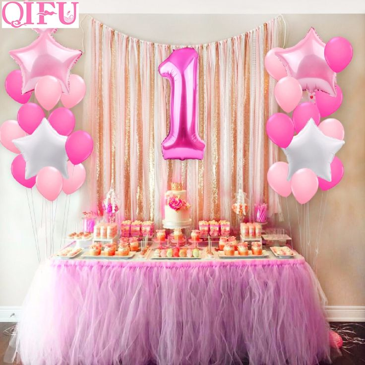 QIFU 25pcs One Year Old 1st birthday Balloons Girl Baby