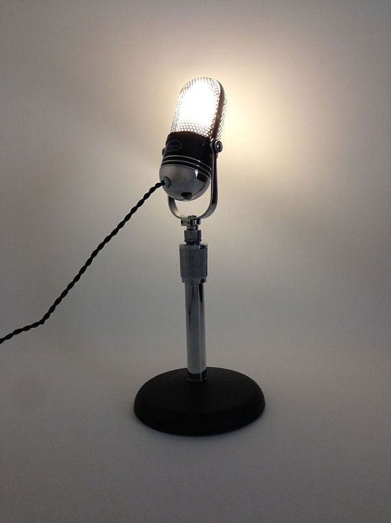 Upcycled Retro Microphone Desktop Lamp. by MICROPHONICSHOP