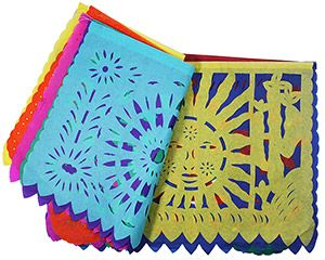 """Decorate your home or party with these festive and classically Mexican paper banners! Known as """"Papel Picado"""" in Mexico, the small banners are strung together to form a single 13-foot colorful streamer, while the large banners are strung together to form a massive 17-foot streamer!  Plus any streamer can be tied to another to create even greater lengths!  Perfect for lively occasions including dances and birthday parties, they've been a tradition in Mexico for decades."""