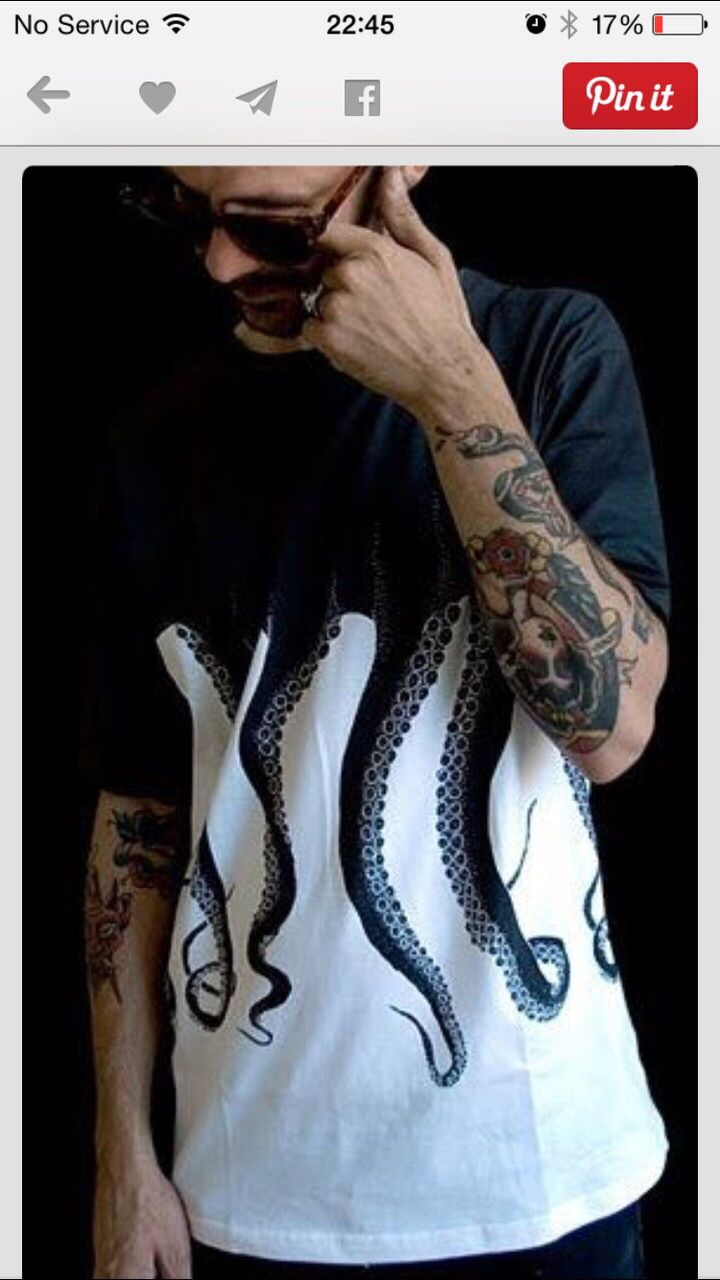 22 brilliantly creative t shirt designs jump in shirt - Black White Octopus Tentacle T Shirt This Would Make A Cool Girl S Shirt Too