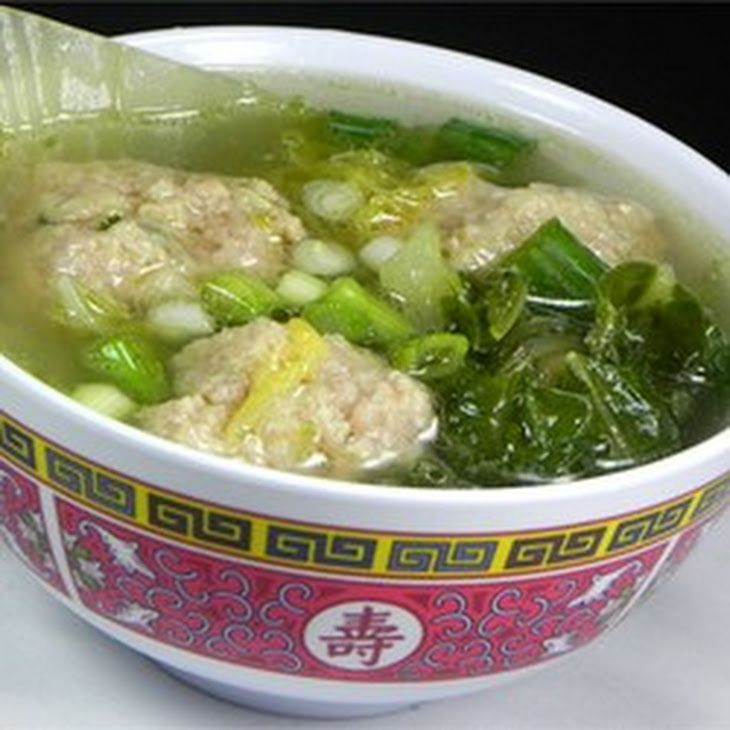 Chinese Lion's Head Soup Recipe Soups with ground pork, eggs, corn starch, sesame oil, fresh ginger root, salt, green onions, vegetable oil, napa cabbage, low sodium chicken broth, water, soy sauce, sesame oil