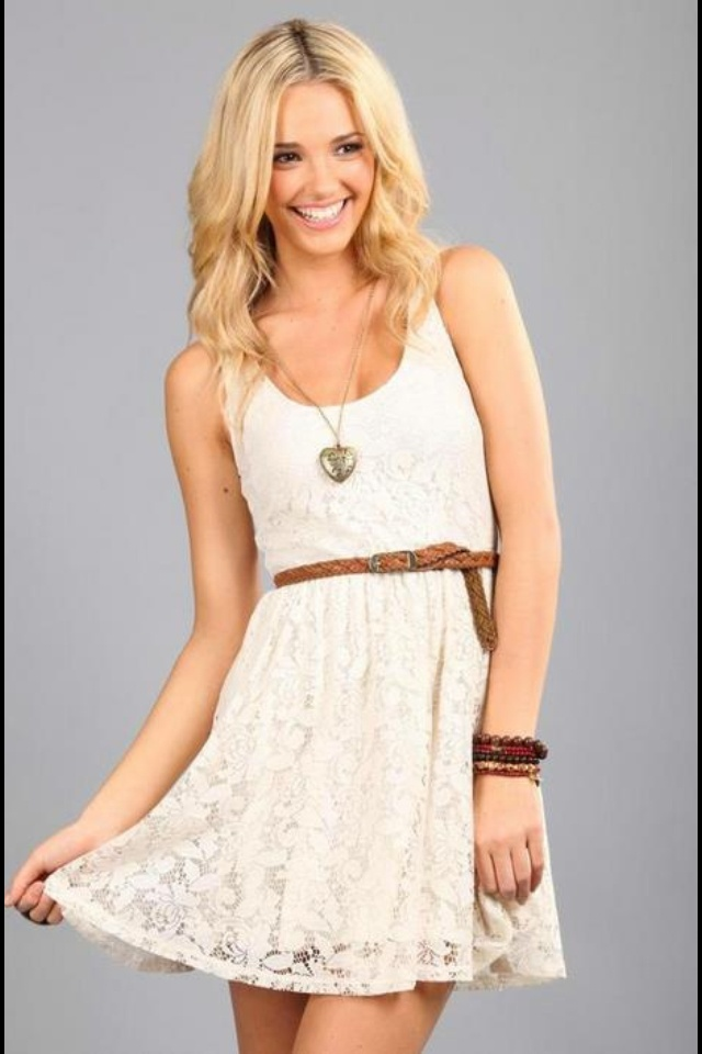 white lace dress brown braided belt clothes