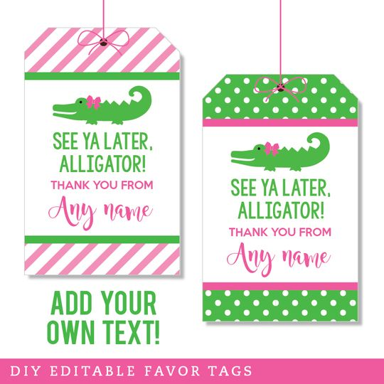 Pink Alligator Party Editable Favor Tags (INSTANT DOWNLOAD)