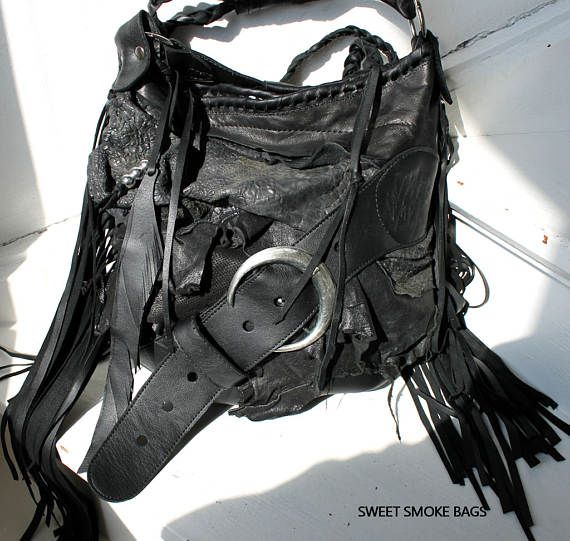 446ca74bbf Black leather pirate style bag crossbody bag fringe hobo unique purse free  boho people bohemian sweet smoke fringed gypsy festival studded