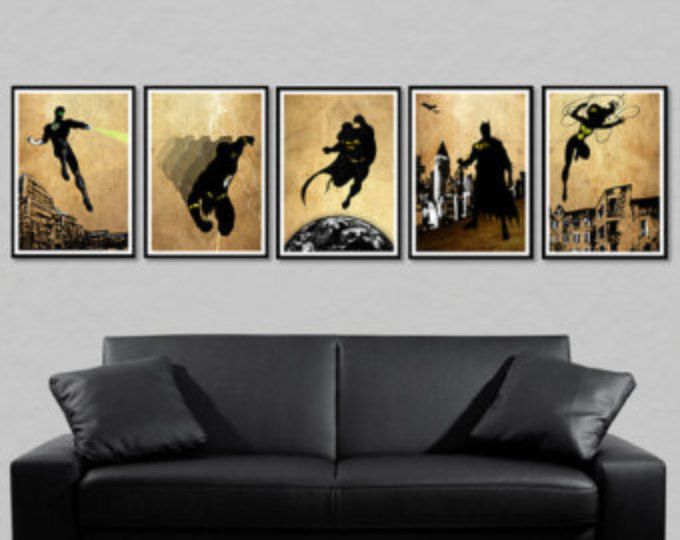 Justice League Poster - Batman, Flash, Superman, Wonder Woman, Green Lantern, Superheld Kunst, Batman Kunstposter, Wonder Woman Plakat