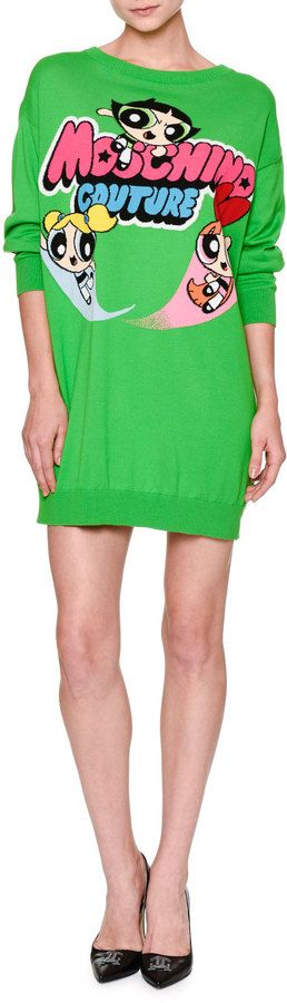 Moschino Powerpuff Girls Long-Sleeve Sweater Dress, Green