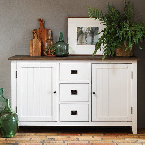 Nottingham White Sideboard with storage drawers and Wooden Board in Kitchen
