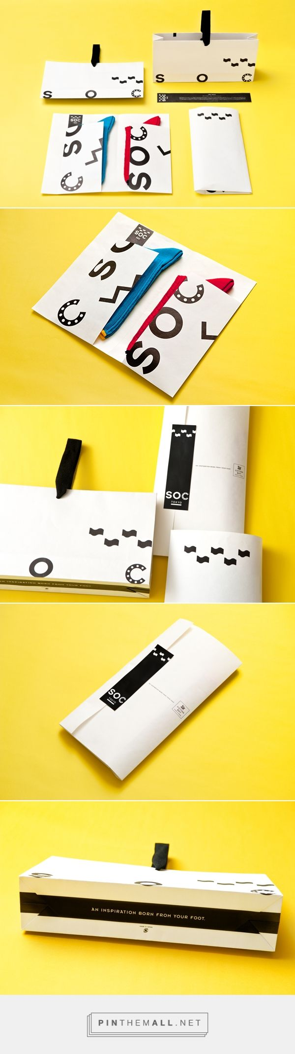 The package has been designed so that it is able to contain socks of all sizes and display the different styles, and was created according to the art of traditional Japanese folding, so that it may be opened without destroying the packaging.