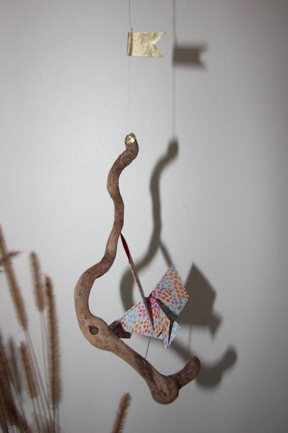 Mobile origami oiseau bois flotté par LaureDaintyArt sur Etsy