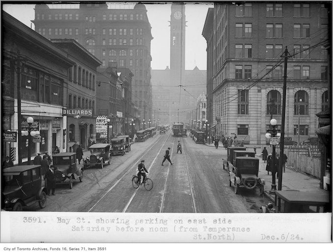 Photo: Alfred J. Pearson – December 6, 1924 – Bay St, showing parking, on east side, Saturday, before noon, (from Temperance St, north)