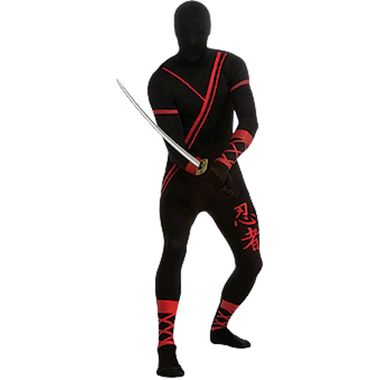 A cool stealthy ninja!  Creep out of the shadows dressed as a cool ninja that blends into the darkness! The Ninja Skin Suit Mens Costume includes a great black and red one-piece jumpsuit.