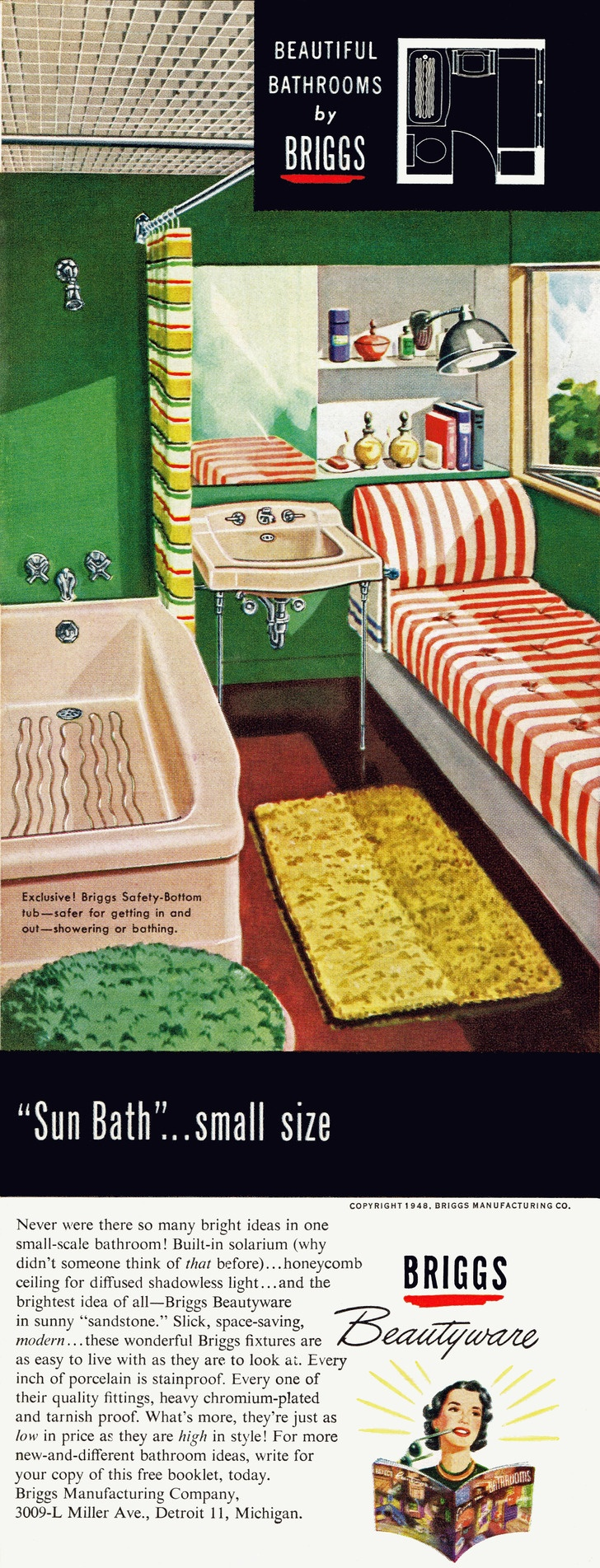 Vintage bathroom ads - 1948 Briggs Beautyware So Much Packed Into Such A Small Bathroom