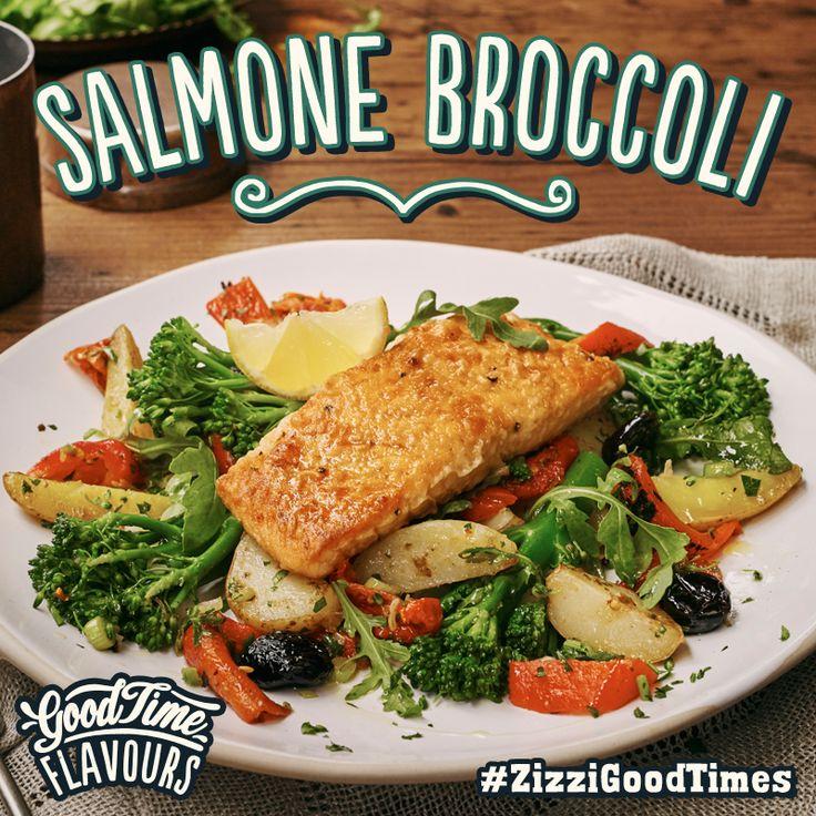 Pan-fried salmon with sautéed fire roast peppers, slow roasted tomatoes, new potatoes, tenderstem broccoli, olives, spring onion & rocket. #ZizziGoodTimes
